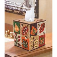 "Fall Foliage Mary Maxim Plastic Canvas Tissue Box Kit 5"""