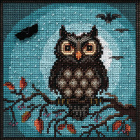 MIDNIGHT OWL cross stitch and Glass Beading kit by MILLHILL