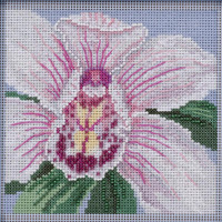 White Orchid cross stitch and Glass Beading  kit by MILL HILL