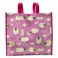Reusable Tote: 10 x 38 x 35cm: Stitched Sheep: Pink