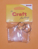 Plastic 4cm Square Key Ring Fob (Pack of 2)