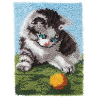 Playful Kitten Latch Hook Rug by Caron
