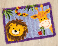 Lion and Giraffe Latch Hook Rug Kit