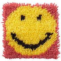 Smile with Pink Latch Hook Rug Kit