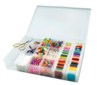 Prism Bobbin Box with Beads and Threads