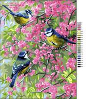 Les Mesanges Bleues et les Fleurs Tapestry Canvas