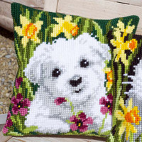 Westie in Daffodils Chunky Cross Stitch Kit by Vervaco