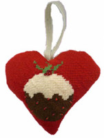 Christmas pudding Heart Tapestry Cushion Kit By Cleopatra