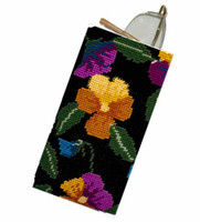 Pansy Garden on Black Tapestry Kit By Cleopatra