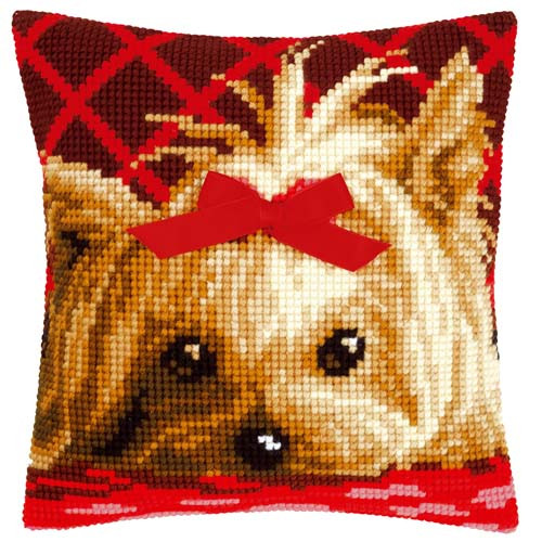 Yorkshire With Bow Tapestry Cushion Kit by Vervaco