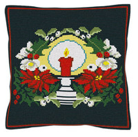Christmas Candle Tapestry Cushion  Kit