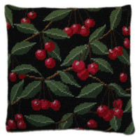 Cherries on Black Tapestry Cushion Kit