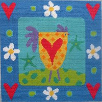 Chicken And Hearts Needlepoint Kit
