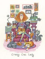 Crazy Cat Lady Cross Stitch Kit By Heritage