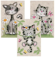 Set Of Three Cats In Flowers Cross Stitch Kits By Vervaco