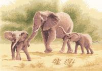 Elephants Cross Stitch Kit By Heritage