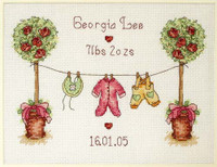 Washing Line Birth Sampler Cross Stitch Kit