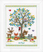 In The Woods Birth Sampler Cross Stitch Kit By Vervaco