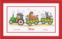 Tractor And Trailer Birth Sampler Cross Stitch Kit