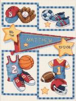 Little Sports Birth Record Cross Stitch Kit