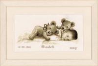 Baby And Bear Birth Sampler Cross Stitch Kti