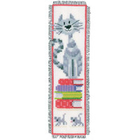 Cat And Books Bookmark Cross Stitch Kit