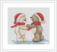 Bruno & Bianca Walk In The Snow Cross Stitch Kit By Luca S