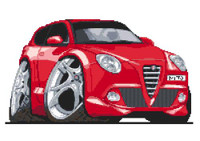 Alfa Romeo Mito Caricature Cross Stitch Kit By Stitchtastic