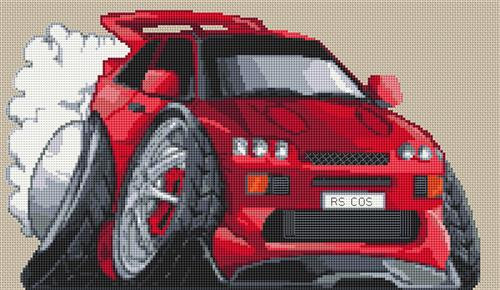Ford Rs Cosworth Caricature Cross Stitch Chart By Stitchtastic