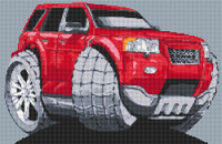 Range Rover Freelander Caricature Cross Stitch Kit By Stitchtastic