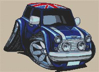 Mini Cooper Union Jack Roof Cross Stitch Kit