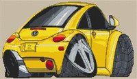 Volkswagen Beetle Caricature New Shape Cross Stitch Kit