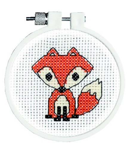 Fox Cross Stitch Kit With Hoop By Janlynn