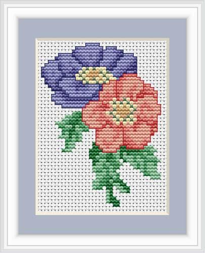 Anemone Mini Cross Stitch Kit By Luca S