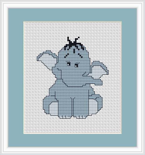 Blue Elephant Mini Cross Stitch Kit By Luca S