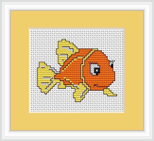 Gold Fish Mini Cross Stitch Kit By Luca S