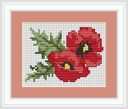 Poppies Mini Cross Stitch Kit By Luca S
