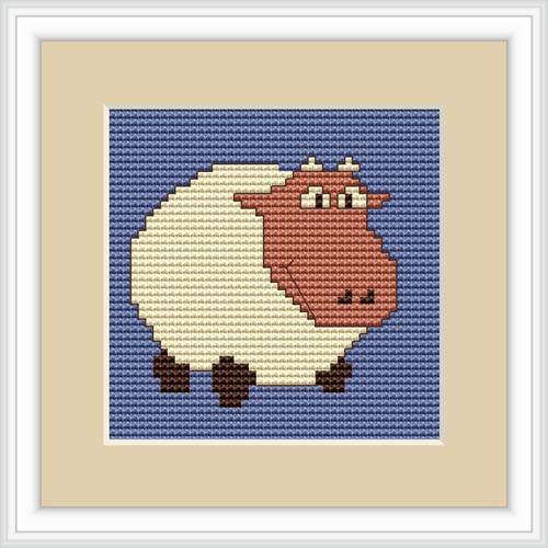 White Sheep Mini Cross Stitch Kit By Luca S