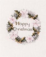 Golden Wreath Christmas Card Cross Stitch Kit
