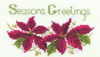 Poinsettias Card Cross Stitch Kit