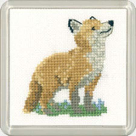 Fox Cub Coaster Cross Stitch Kit for Beginners