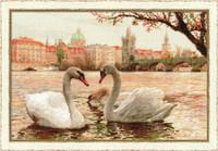 Swans Prague Cross Stitch Kit By Riolis