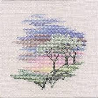 Minuets Frosty Trees Cross Stitch Kit On Linen