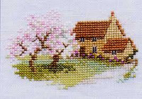 Orchard Cottage Cross Stitch Kit On Linen