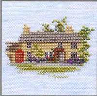 Rose Cottage Cross Stitch Kit On Linen