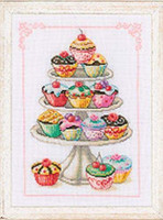 Cupcake Cake Stand Cross Stitch Kit By Vervaco