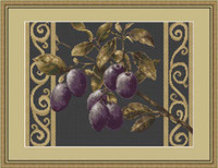 Plums On Black Cross Stitch Kit By Luca S