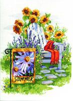 Summer Garden Flag Cross Stitch Kit By Janlynn