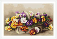 Basket With Pansies Cross Stitch Kit By Luca S