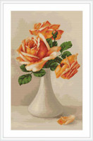 Peach Roses Cross Stitch Kit By Luca S